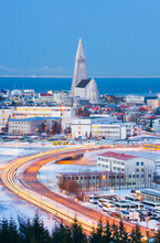 Iceland, Reykjavik, Elevated View Of The City At Dust