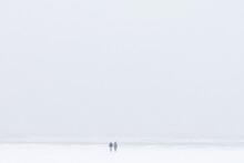 Two Friends On A Snowy Beach