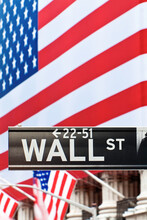 USA, New York City, Manhattan, Downtown Financial District - Wall Street And The US Flag