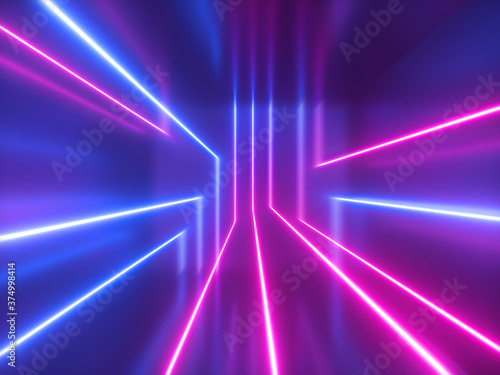 Fotografering 3d render, abstract geometric background, pink blue violet neon light, chaotic glowing lines, laser rays inside dark room