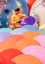 Woman Painting Umbrellas, Bo S...