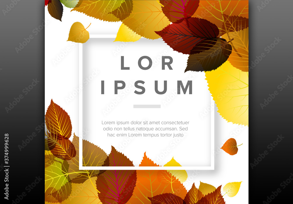 Fototapeta Autumn Leaves Background Digital Flyer Layout with Square Frame