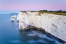 Dawn Over Old Harry Rocks On The Jurassic Coast, UNESCO World Heritage Site, Dorset, England, United Kingdom, Europe