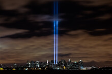 9 11 Tribute In Lights Next To World Trade Center