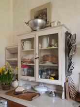 Vintage Hipster Retro Inspired Kitchen In England With Bread And Bread Knife.