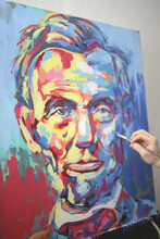 Abstract Lincoln Canvas Painting