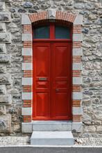 Antique Rural Red Wooden Door