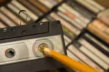 Pencil Being Used To Rewind Tape In Cassette