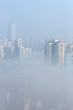 City in deep fog