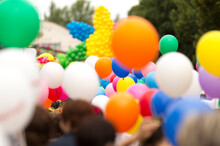 Crowd With Colorful Balloons