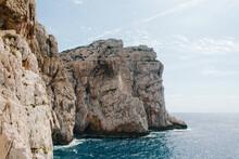 Rocky Cliffs Along The Ocean Shoreline.