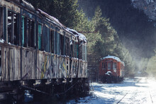 Old Real Station With Train At Winter