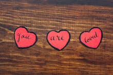 Three Red Paper Hearts With Th...