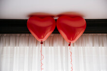 2 Red Heart Balloons For Valentine's Day