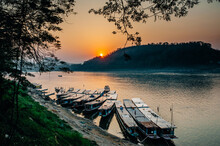 Sunset At The Mekong River In ...