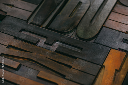 Wood type Letters Background - 375008213