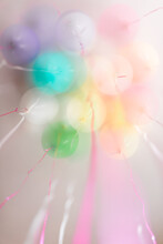 Festive Pastel Balloons And Ribbons -- Multiple Exposure
