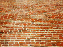 Red Brick Wall With Diminishing Perspective Background