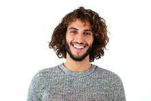 Delighted Male With Curly Hair