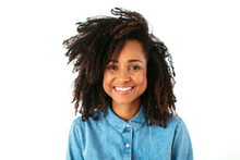Cheerful Black Woman With Curl...