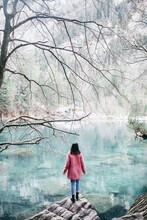 Young Woman At Blausee Lake