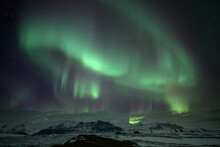 Northern Lights Over Mountain ...
