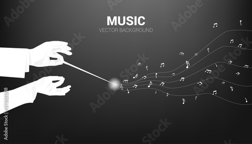 Fotografiet Vector silhouette of conductor hand hold baton stick with flying music note