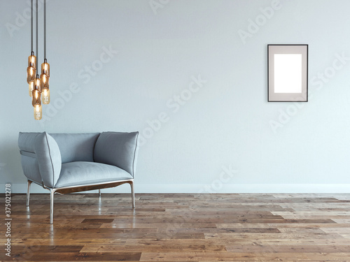 Fotografía empty living room interior decoration modern lamp and wooden floor, stone wall concept