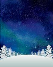 冬の景色:水彩 冬 ...