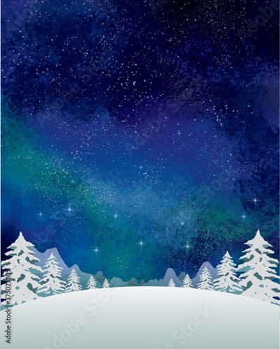 冬の景色:水彩 冬 景色 山 雪 雪山 星 夜空 キラキラ ミルキーウェイ