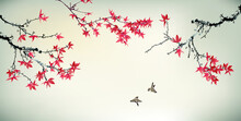 Chinese Painting Of Maple Tree And Birds