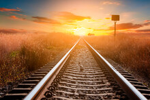 Railway In The Sunset