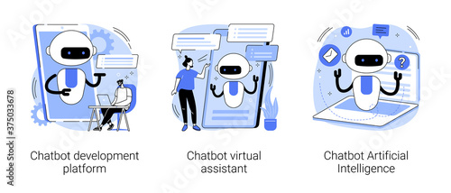 Chatbot programming abstract concept vector illustration set. Chatbot development platform, virtual assistant and Artificial Intelligence, wireframe, machine learning service abstract metaphor.