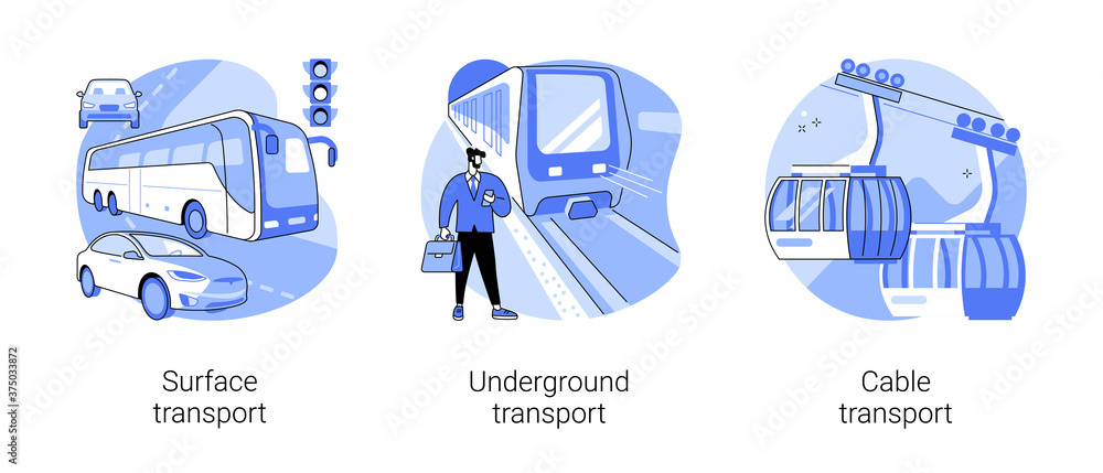 Fototapeta Public transport abstract concept vector illustration set. Surface, underground and cable transport, road and highway, trolleybus, bus stop, subway train station, passenger traffic abstract metaphor.