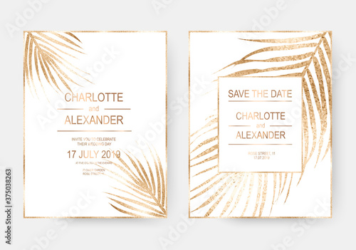 Cuadros en Lienzo Gold tropical palm leaves frames design invitation template background