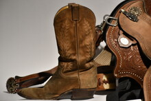 Cowboy  Boot And Saddle. Photo...