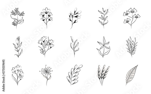 minimalist tattoo boho flowers floral decoration on white background line art ic Slika na platnu
