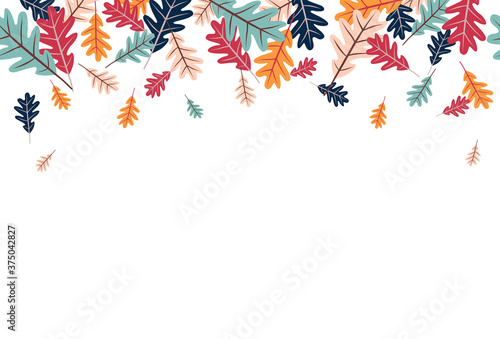 00390 Seamless Modern Cool Fall Autumn Leaves Border 1 Wallpaper Mural