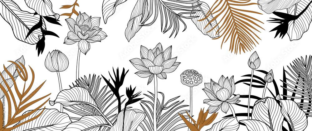 Fototapeta Luxury golden art deco wallpaper. lotus  background vector. Floral pattern with golden tropical flowers, monstera plant, Jungle plants line art on white background. Vector illustration. - obraz na płótnie