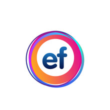 Letter EF Logo With Colorful Circle, Letter Combination Logo Design With Ring, Circle Object For Creative Industry, Web, Business And Company.