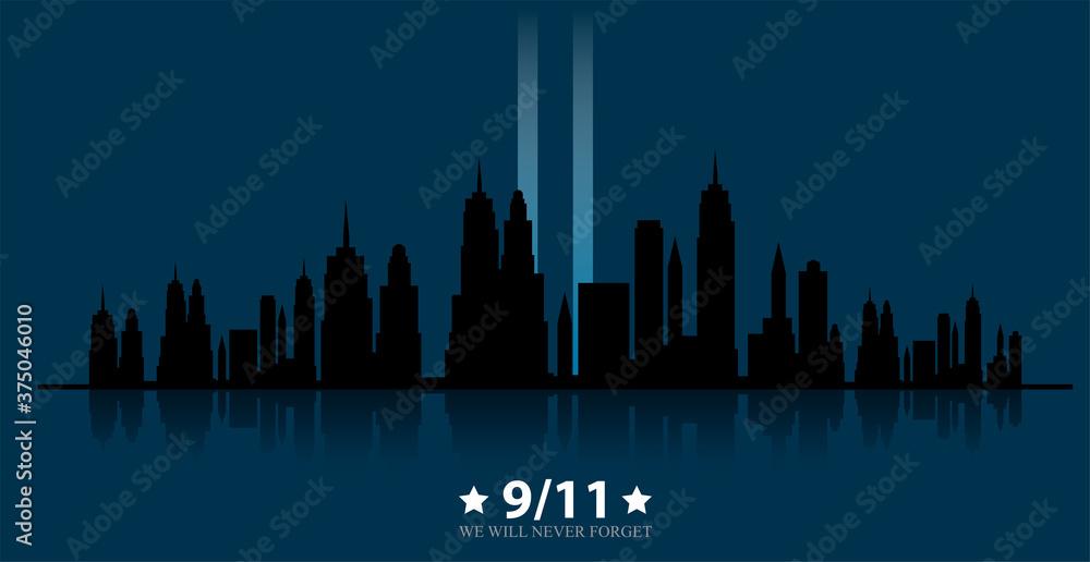 Fototapeta 11 September-Patriot day USA.We will never forget
