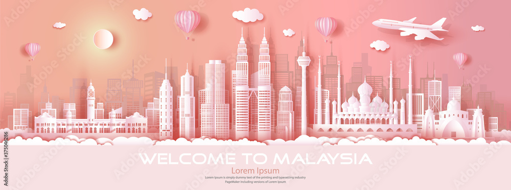 Fototapeta Travel malaysia top world famous city modern and ancient architecture.