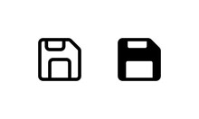 Floppy Disk Icon. Outline And Glyph Style
