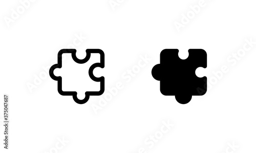 Photo Puzzle icon. Outline and glyph style