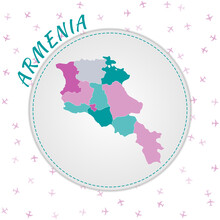 Armenia Map Design. Map Of The Country With Regions In Emerald-amethyst Color Palette. Rounded Travel To Armenia Poster With Country Name And Airplanes Background. Cool Vector Illustration.