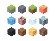 Landscape Cubes Isometric Game Set. Formations Color Wood And Coal Fractal Made Of Ice Metal Grassy Landscape With Rocky Soil Lava Water Relief 3D Geological Block Made Clay. Vector Cartoon.