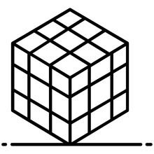 Flat Design Of 3d Cubic Puzzle Game, Rubik Icon