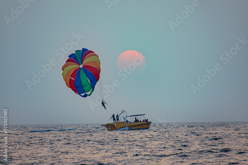 Fotografering Parasailing at Goa Beach
