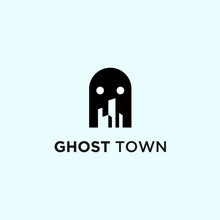 Abstract Ghost Logo. City Icon