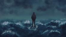 Man Standing On The Rock Among...